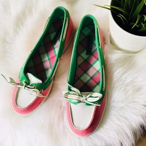 SPERRY Topsider Hailey Plaid Boat Shoe 9 9M EUC